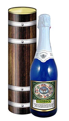 Sternzeichen Steinbock 0,75l Sekt (Mosel) blaue Flasche in der Geschenkdose im Holzdesign