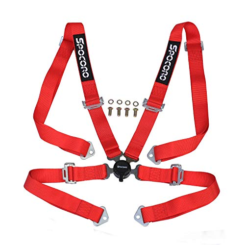 Spocoro SB-0204RD-QR-1 4 Point Racing Safety Harness Cam Lock with 2' Straps, Red (Pack of 1)