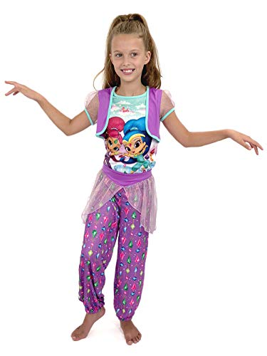 Nickelodeon Girls' Little Shimmer and Shine 2-Piece Pajama Set, Violet Fantasy, 4