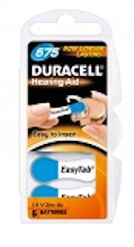 6 Stück Duracell Hörgeräte Batterien für AS675 - ZL675 - BR675 - A675 - DA675 - AC675 - ZL1 - DS675- A675 - PR675 ZA675 - 675AE - HA675 - PR44 - AU675 Blau 1 X 6er Blister
