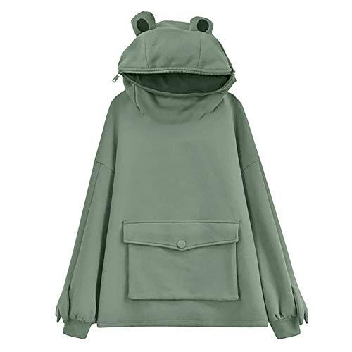 DANWAN Frosch Hoodie Mädchen Stitching Dreidimensional Cute Design Pullover Sweatshirt Kreative Stickerei Dreidimensionale Niedliche Kopfbedeckung Sweatshirt(A-A-Grün,L)