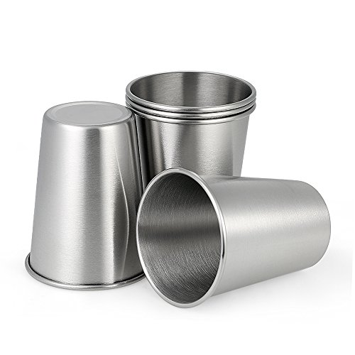 Decdeal 5 Stück Edelstahl Becher Edelstahl Tasse Stapelbare Becher 350ml