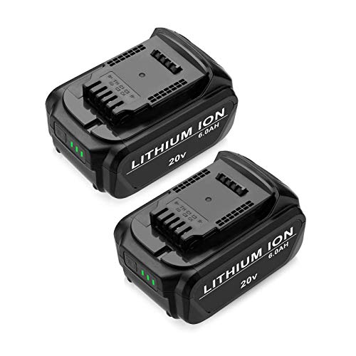 FirstPower 6.0Ah Replacement Battery DCB205 DCB204 - Compatible with Dewalt 20V Cordless Power Tools DCB180 DCB200 DCB204-2 DCB205-2 DCB206 DCD/DCF/DCG Series - Upgraded Li-ion 2 Pack
