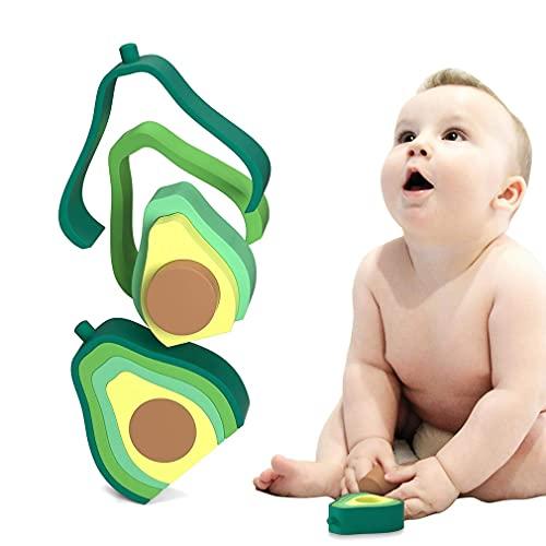 Ycsax Juguetes para Apilar Y Dentición para Bebés, Juguete De Silicona con Forma De Aguacate para Anidar, Juguetes Educativos para Niños Pequeños De Aprendizaje Temprano para Bebés De 6 Meses O Más