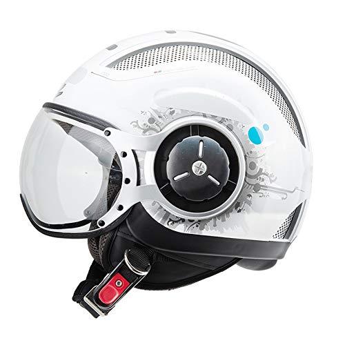 YHDQ Motorradhelme Herren Damen Stylische Halbgarage Elektro-Fahrzeughelme Sommer Halbhelme Stilvoll MOMO Style Kostengünstige Belüftung