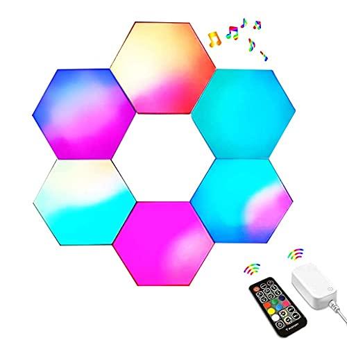 Sincronizado con música, Paneles de luz Hexagonal de Pared LED, con Control Remoto RF, Luces de Juego para Regalo, lámpara cuántica Modular LED RGB Inteligente, para decoración de Fiesta de cafeterí