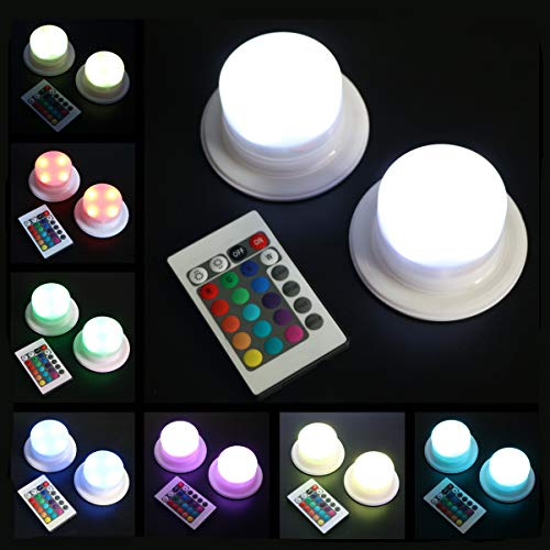 ARDUX 4 LEDs Rechargable Color-Changing LED Base Lights with Remote Control 16 Colors Decoration for Under Table Party Event Birthday Pumpkin Lanterns Wedding Centerpiece Outdoor Indoor (2pcs/lot)