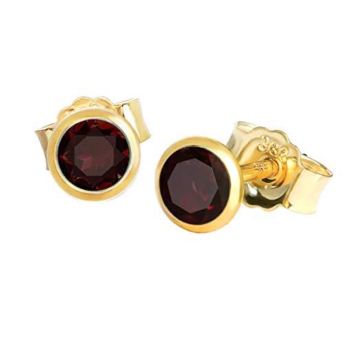 NKlaus Paar Ohrstecker echt Granat rot Gelbgold 333 8 Karat Gold 4,0mm kleine Ohrringe 7995