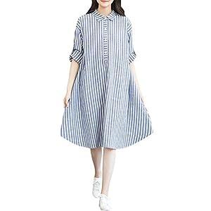 UULIKE Women Maternity T-Shirt Dress,Fashion Striped Pregnant Clothes Lapel Dress Nightgown Sleepwear Maternity Night Pajamas Women Blue