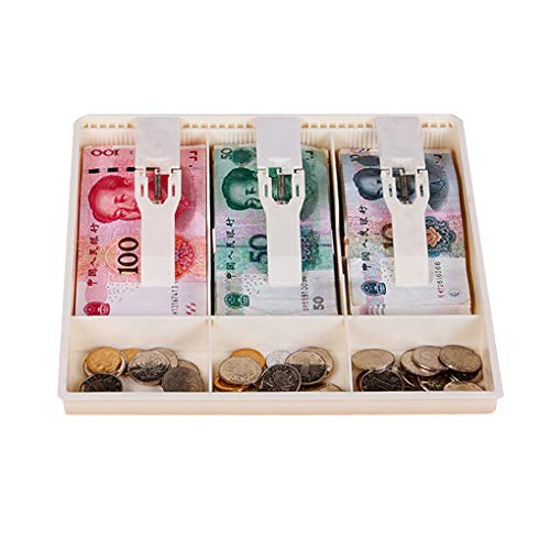 rongweiwang Bandeja Cajón Caja del cajón de Dinero Contador Caja de plástico de la Caja de la Caja registradora Caja de Monedas con Monedas cajero Caja del cajón