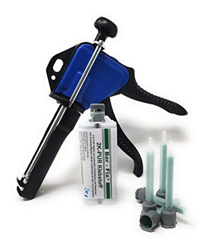 Ber-Fix® Dosierpistolen Starter set mit 5x Mischspitzen 1:1 50g PUR Kunststoff Kleber Schwarz 1 Minuten