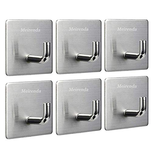 Meirenda Self Adhesive Hooks Removable Wall Hooks Heavy Duty Bathroom Towel Sticky Adhesive Wall Hanging Hooks for Office Home Kitchen Bags