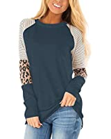 Floral Find Women's Long Sleeve Leopard Color Block Tunic Comfy Stripe Round Neck T Shirt Tops (XX-Large, Nave Blue)