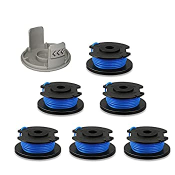Thten String Trimmer Spool Replacement for Ryobi One Plus AC14RL3A 18V 24V 40V 11ft 0.065  Auto Feed Cordless Weed Eater Spools Line with AC14HCA Cap Covers Parts  6 Spools 1 Cap