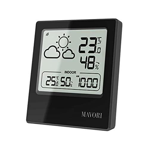 MAVORI® Wetterstation Funk mit Außensensor und Wettervorhersage | Hygrometer und Thermometer innen/aussen mit genauen Messwerten | Anzeige von Wettertrend und Uhrzeit | schlichtes und edles Design