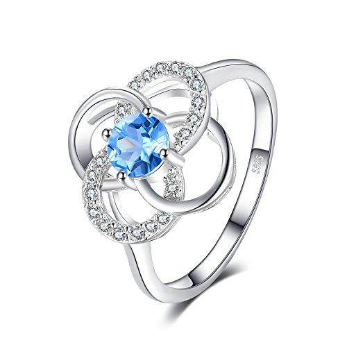 JewelryPalace Classico Azzurro Swiss-topazio Rotonda Promessa Anniversario Fiore Anello 925 Argento Sterling