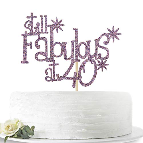 Purple Glitter Still Fabulous at 40 Cake Topper - Happy 40th Birthday Cake Decor - 40th Birthday/Anniversary Party Decoration