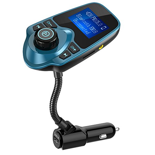 Nulaxy Bluetooth Car FM Transmitter Audio Adapter Receiver Wireless Handsfree Voltmeter Car Kit TF Card AUX 1.44 Display – KM18 Peacock Blue