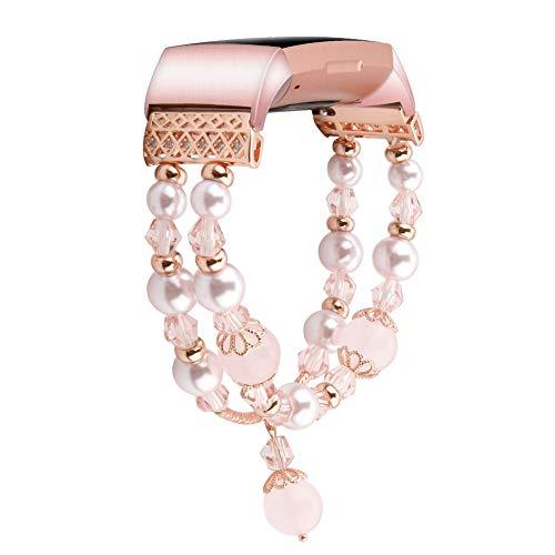 Armband kompatibel mit Fitbit Charge 3/3 SE Bands Frauen Mode handgefertigt Schmuck Armband elastisch Stretch Kunstperlen Perlen Armband für Fitbit Charge 3/3 SE Smartwatch klein und groß S-pink