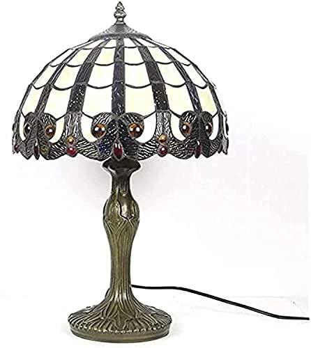 TOPNIU Vidrieras Tiffany Lámpara de Mesa Simple Estilo Europeo Doble Dormitorio Doble Estudio Escritorio Lámpara Lámpara de Noche Regalo