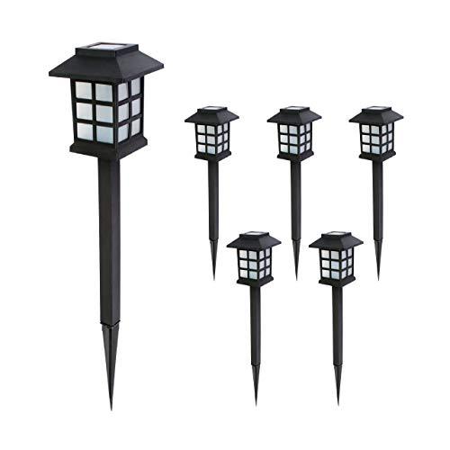 Baliza solar LED de jardín. Set 6 uds. Luz blanca cálida. Encendido automático con sensor de luz. Altura 38 cm. Pica de tierra incluida. Resistente al agua IP44