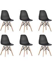 BenyLed Set van 6/8 eigentijdse kunststof eetkamerstoel retro design zijstoel voor eetkamer, keuken, kantoor, restaurant, enz