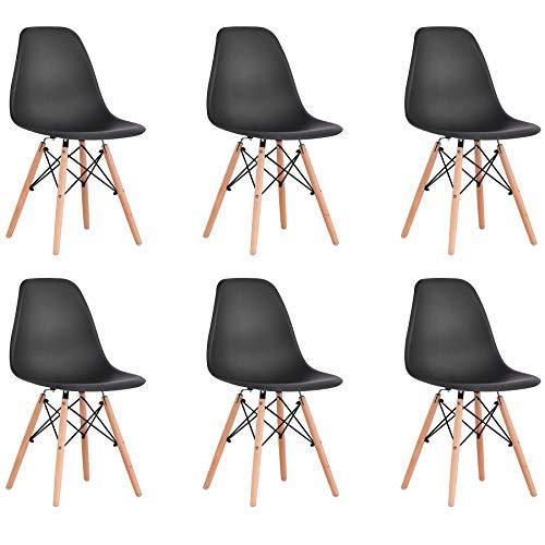 BenyLed Lot de 6 Chaises de Salle à Manger Contemporaines en Plastique Design Rétro Chaise D'appoint pour Salle à Manger, Cuisine, Bureau, Restaurant, etc (Noir)
