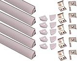 Aftertech 5 x 1 m 16 x 16 Profil aluminium angulaire rond 1 m pour rubans LED barre...