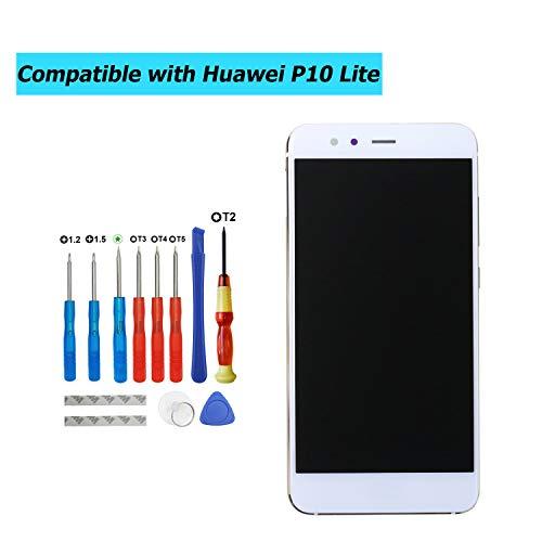 Upplus Vervanging LCD-scherm Compatibel met Huawei P10 Lite, was-LX1, WAS-LX1A, was-LX2, WAS-LX2J, was-LX3, WAS-L03T, Onderdelen Reparatie Display LCD Touch Screen met frame met toolkit (wit)