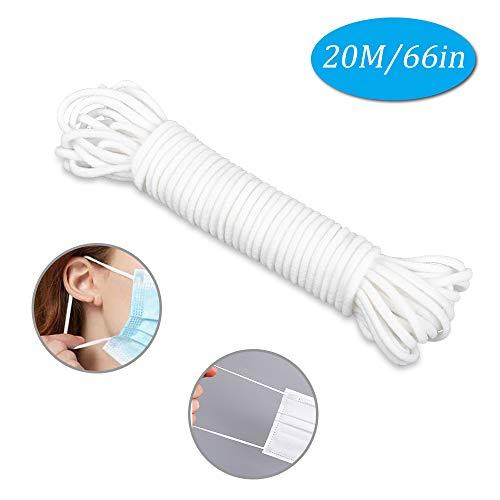 Sooair maskertouw, 3 mm, wit, 20 m elastisch touw, intrekbaar riemtouw om zelf masker te maken