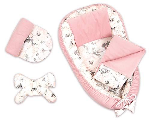 PIMKO VELVET Babynestchen Kuschelnest 5-teiliges Set ink. warm Babynest 90x55 cm Schmetterling-Kissen flaches Kissen Matratze Babydecke Nestchen für Babys Super Weich Baby-Kokon (Roso)