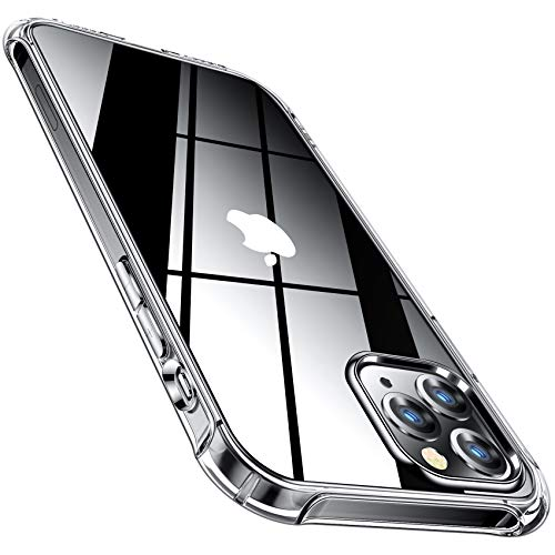 CANSHN Compatible with iPhone 12 Case and iPhone 12 Pro Case 6.1'' 2020, Clear Protective [Military Grade Drop Test] [Slim Thin] Case with 4 Reinforced Soft TPU Bumpers - Clear