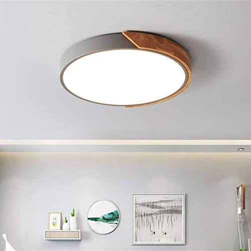 GaLon eenvoudige moderne led-plafondlamp met afstandsbediening, dimbaar, voor woonkamer, ronde lamp voor kinderkamer, slaapkamer, houten plafondlamp, energieklasse A 50CM grijs.