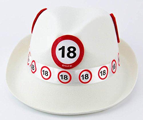Folat 62318 Tribly Party Hut - Verkehrszeichen 18 Jahre, Unisex-Erwachsene, Weiß, Einheitsgröße
