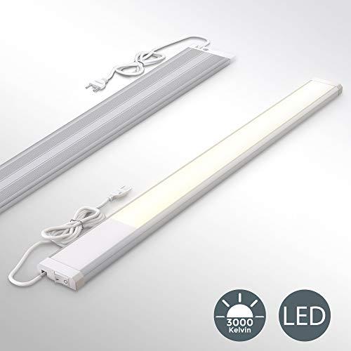 Lampada sottopensile cucina LED, luce calda 3000K, LED integrati da 10W, lunghezza 57.5cm, 1.110 Lm, interruttore on off, plastica e metallo, lampada moderna per vetrinetta, 230V IP20