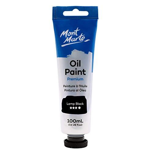 Mont Marte Premium Oil Paint, 100ml (3.4oz), Ivory Black, Good Coverage, Excellent Tinting Strength