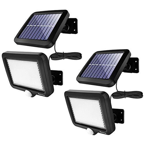 Solarlampen für Außen, [2 Stück] 56 LEDs Solarleuchten 120° Superhelle Solar Wandleuchte mit Bewegungsmelder, IP65 Wasserdichte Garten Sicherheitswandleuchte mit 16.5ft Kabel