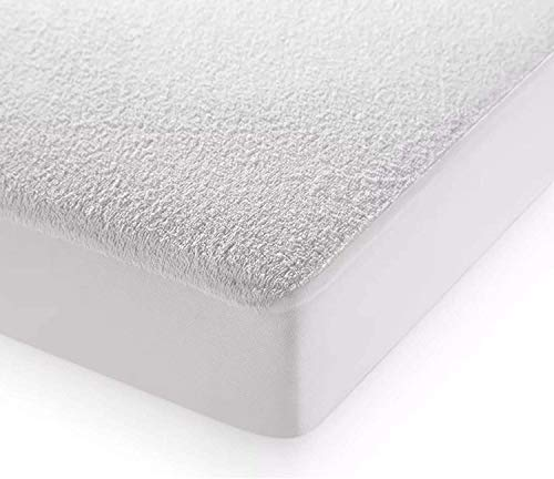 CnA Stores – Terry Toweling Waterproof Mattress Protector Double 40cm Extra Deep Fitted Anti-Allergy Non Noisy Mattress Cover