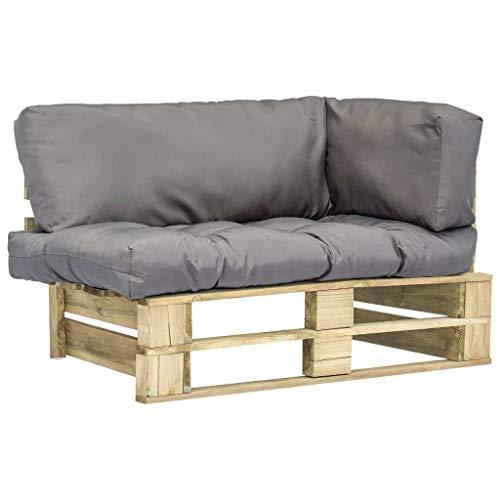 vidaXL Holz Palettensofa Grau Palettenkissen Paletten Sofa Polster In/Outdoor