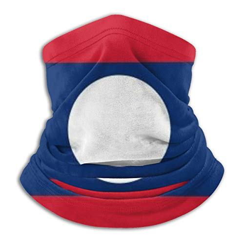Laos Flag Neck Gaiter Tube Scarf UV Resistant Sport Headwear Cold Weather Winter Warmer Face Mask for Unisex Outdoor Fishing Hiking Running Cycling Balaclavas
