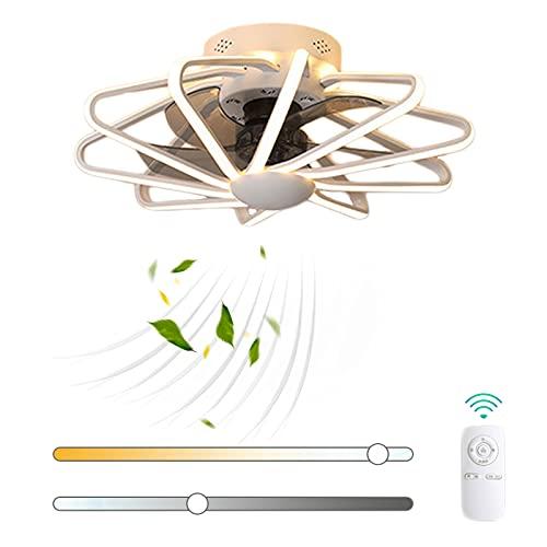 VOMI Silenciar Ventilador de Techo con Luz Lámpara 112W LED Regulable Luz del Ventilador con Mando a Distancia Moderno Tranquilo Ventilador Creatividad Decoración para Salón Cuarto