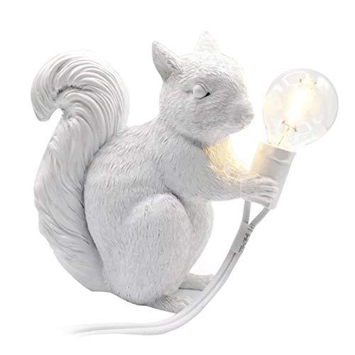 FLAMEER Lámpara de Ardilla de Resina Creativa Luces de Mesa de Escritorio con Interruptor de Encendido/Apagado Dormitorio Elegante Luces de luz de Noche para - White