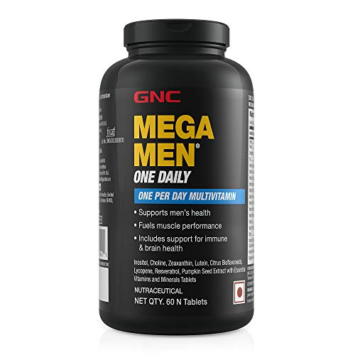 GNC Mega Men One Daily Multivitamin for Men, 60 Count, Take One A Day for 19 Vitamins and Minerals, Supports Muscle Performance, Energy, Metabolism, Brain, and Immune System