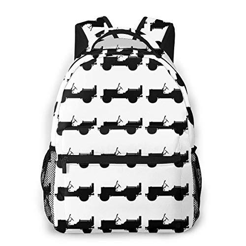 Four Wheel Drive Classic Wj Causal Daypack Rucksack Vintage College School Bags Multipurpose Laptop Backpack for School/Business/Work/Men/Women