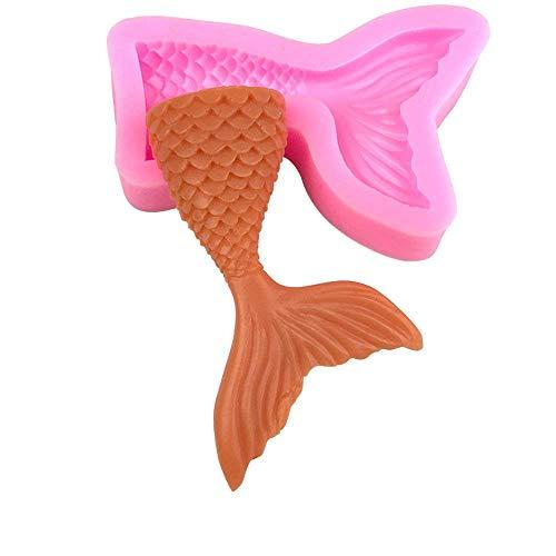 Moldes de silicona para fondant, diseño de cola de sirena, antiadherente, para chocolate, gelatina, dulces, decoración de cupcakes, juego de 3 unidades grandes y pequeñas