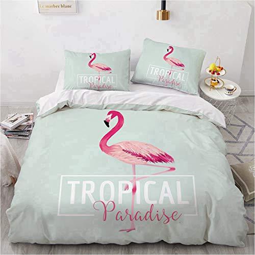 BATTE Flamingo-Bettbezug-Set für Doppelbett, wendbar, Blau und Pink, Flamingo-Druck, Bettbezug, weiche Mikrofaser, Bettwäsche-Set (02, 135 x 200 cm)