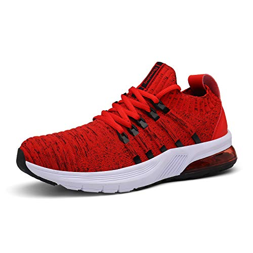 [Ulogu] スニーカー ランニングシューズ メンズ レディース 超軽量 エアクッション スポーツシューズ 通気 防滑 履きやすい 歩きやすい 運動靴 (全6色入り) レッド 26.5cm
