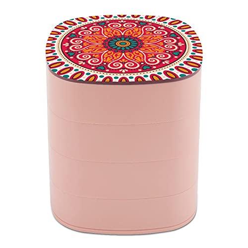 Rotar la caja de joyería Diseño de la Moda Tradición Arte Hermosa Decoración joyería titular caja pequeña con espejo, diseño de múltiples capas plato de joyería para mujeres niña