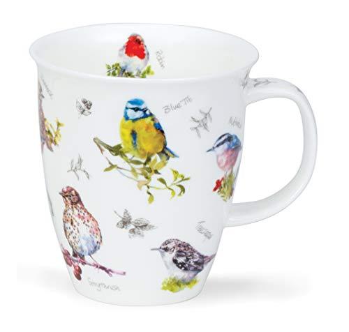 Dunoon - Taza de porcelana fina con forma de avivador de pájaros, fabricada en Inglaterra, Porcelana de ceniza de hueso, Teta azul