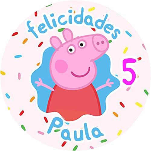 OBLEA de Peppa Pig Personalizada con Nombre y Edad para Pastel o Tarta, Especial para cumpleaños, Medida Redonda de 20cm de diámetro